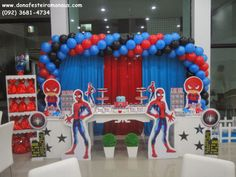 Ideas to decorate a spider man themed party Manly Party Decorations, Balloon Decorations, Baby Shower Decorations, Party Themes, Superhero Birthday Invitations, Superhero Party, Spiderman Theme, Giant Balloons, Man Party