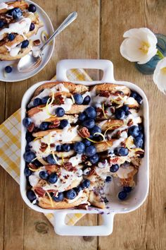 Blueberry-Pecan Pancake Bread Pudding: Bread pudding and pancakes at the same time? Find more easy, tasty, and make ahead Christmas brunch recipes and menu ideas perfect for holiday parties and buffets. Christmas Brunch Menu, Christmas Breakfast, Christmas Morning, Xmas, Christmas 2016, Breakfast Casserole Easy, Breakfast Dishes, Breakfast Ideas, Breakfast Dessert