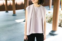 Alice Gao in our Kaarem Pleat Top:  http://aboynamedsue.co/shop/item/kaarem/top/chance-drape-pleat-top/