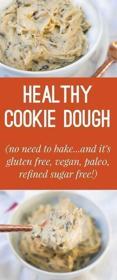 recipe for healthy no-bake cookie dough! Vegan, Gluten Free, Refined Sugar Free and Paleo!A recipe for healthy no-bake cookie dough! Vegan, Gluten Free, Refined Sugar Free and Paleo! Healthy No Bake Cookies, Healthy Cookie Dough, Healthy Chocolate Chip Cookies, Healthy Sweets, Healthy Baking, Healthy Drinks, Vegan Treats, Sugar Free No Bake Desserts, No Sugar Snacks