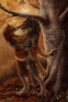 Furry lovers in he woods Furry Wolf, Furry Art, Fantasy Wolf, Fantasy Art, Fantasy Creatures, Mythical Creatures, Forest Creatures, Werewolf Art, Monsters