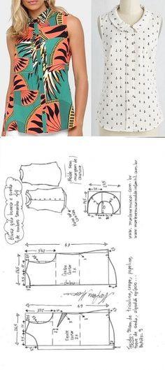 Blusa com queda de ombro e gola boneca | DIY - molde, corte e costura - Marlene Mukai