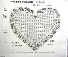 Free crochet pattern for heart crochet coasters. Filet Crochet, Crochet Motifs, Crochet Amigurumi, Crochet Diagram, Crochet Chart, Crochet Squares, Thread Crochet, Crochet Doilies, Crochet Flowers