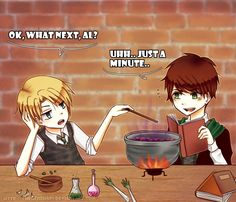 Al potter and scorpius malfoy working on potions.