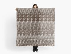 Feather Pattern Scarf | Brown and White | Scarves | by Eclectic at HeART