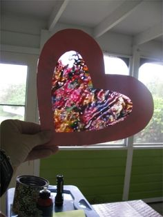 valentines sun catchers - melted wax crayon shavings & wax paper