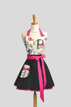 Alphabet Kitchen Bodice on Black and White Dot Skirt and Trimmed In Hot Pink