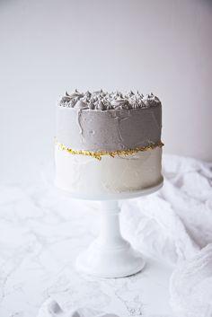 Black Sesame Matcha Cake | lilac gold and cream cake