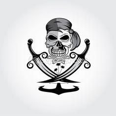 Пиратский череп с мечами, якорь и пальмы — стоковая иллюстрация #65572833