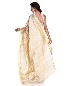 EON White Art Silk Saree