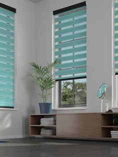 Our Duo Roller Blinds are an innovative Roller Blind that consists of two layers of sheer and opaque horizontal striped fabric. Teal Blinds, Black Blinds, Day Night Blinds, Natural Blinds, Kitchen Blinds, Curtain Styles, Bright Homes, White Curtains, Curtains Living