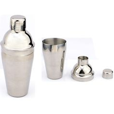 16oz Stainless Steel Cocktail Shaker This is a great quality cocktail shaker! It is made from food grade 201 stainless steel and it mixes 16ozs (500ml) of your favorite alcoholic beverage. This shaker has three parts, the body, the pour-er and the cap. The body holds the liquid to be mixed, the pour-er allows you to pour the mixed drink and the cap allows you to shake the contents without spillage.