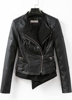 43d233dbb1aeb Black Long Sleeve Oblique Zipper Jacket pictures Jackets For Women, Cheap  Jackets, Blazers,