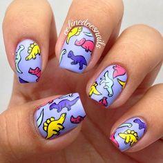 15 Dinosaur Nail Art Ideas That Are Prehistoric Perfection Cute Acrylic Nails, Cute Nail Art, Acrylic Nail Designs, Cute Nails, Pretty Nails, Beach Nail Designs, Space Nails, Animal Nail Art, Nails For Kids