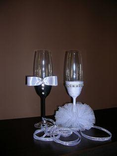 DIY wedding champagne glasses