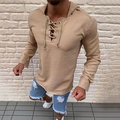 Geetobby Men Hole Shirt Fashion Solid Stand Collar Casual Long Sleeve Shirt