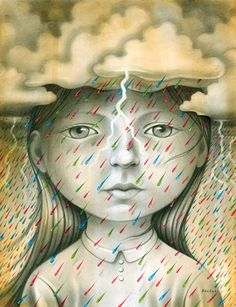 Illustrated girl with clouds above her head // raining // Chris Buzelli