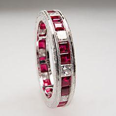 diamond and ruby eternity ring   ... Natural Ruby Diamond Wedding Ring Eternity Band Solid Platinum   eBay