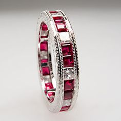 diamond and ruby eternity ring | ... Natural Ruby Diamond Wedding Ring Eternity Band Solid Platinum | eBay