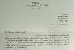 Premio Giovanni Testori Città di #Milano Lettera di ringraziamento del comitato organizzatore (gennaio 2014).