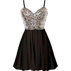 Waking Dream Dress ($100) ❤ liked on Polyvore featuring dresses, black sparkly dress, black chiffon dress, sweetheart neckline cocktail dress, chiffon cocktail dress and sparkly dresses