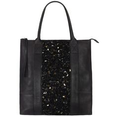 Bolshevik Tote Bag (5 485 UAH) ❤ liked on Polyvore featuring bags, handbags, tote bags, purses, bolsas, accessories, black, leather tote bags, sequin tote and genuine leather tote