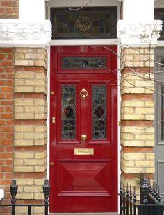 London Doors, Front Door, Victorian / Edwardian Door- in black Victorian Front Doors, Victorian Terrace, Victorian Homes, Stained Glass Door, External Doors, Front Door Colors, Second Empire, House Doors, Entrance Doors