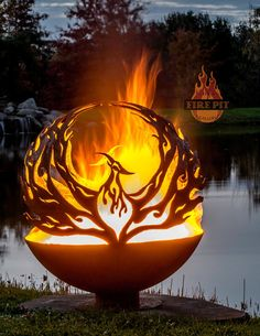 Phoenix Rising Fire Pit Sphere 02 - The Fire Pit Gallery Fire Pit Sphere, Fire Pit Globe, Fire Pit Gallery, Custom Fire Pit, Wood Burning Fire Pit, Metal Fire Pit, Fire Pit Art, Creation Art, Phoenix Rising