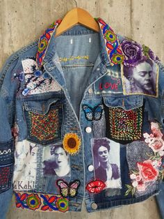 Vintage Jeans, Vintage Outfits, Diy Fashion, Ideias Fashion, Bohemian Crafts, Painted Clothes, Clothing And Textile, Altering Clothes, Denim And Lace