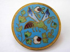 Antique enamel metal button brass victorian large cloisonne champleve bee insect