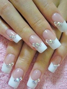 White Elegant Nails With Gems
