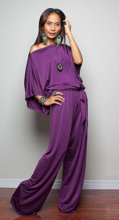 Jumpsuit Dress  Purple Jumper Maxi Dress  Chic & Casual by Nuichan, $58.00