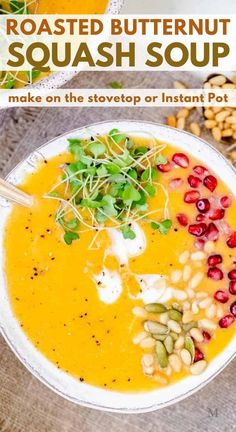 This creamy roasted butternut squash soup can be made in the Instant Pot or on the stovetop. It's quick, healthy, dairy free, and absolutely delicious. You can make it vegan if you'd like by using vegetable broth. #movementmenu #souprecipes #instantpot #butternutsquash #paleorecipes Vegetable Soup Healthy, Vegetable Soup Recipes, Vegetarian Soup, Healthy Vegetables, Vegetarian Recipes, Paleo Soup, Vegan Soups, Best Paleo Recipes, Healthy Soup Recipes