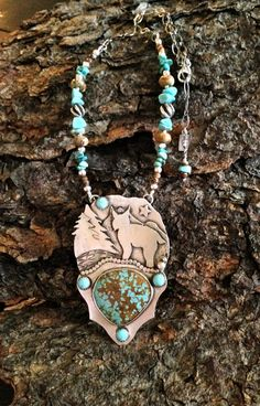 The 'America' series - Large rare Number 8 Mine turquoise and fine silver Bobcat artisan necklace by CrawfordCreekDesigns