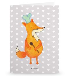 Grußkarte Fuchs Koch aus Karton 300 Gramm  weiß - Das Original von Mr. & Mrs. Panda.  Die wunderschöne Grußkarte von Mr. & Mrs. Panda im Format Din Hochkant ist auf einem sehr hochwertigem Karton gedruckt. Der leichte Glanz der Klappkarte macht das Produkt sehr edel. Die Innenseite lässt sich mit deiner eigenen Botschaft beschriften.    Über unser Motiv Fuchs Koch  Die Fox Edition ist eine besonders liebevolle Kollektion von Mr. & Mrs. Panda. Jedes Motiv ist wie immer bei Mr. & Mrs. Panda…
