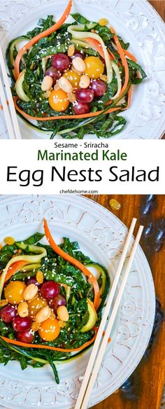 Kale Carrots and Cucumber Salad with Veggie Easter Eggs - A fun Easter Salad in juts 20 minutes