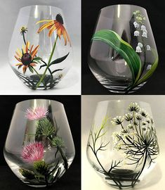 Wildflowers Hand Painted Stemless Wine Glasses Prairie Flowers Lily Thistle Coneflower Queen Anne Lace Unique Glassware Set Country Chic Art
