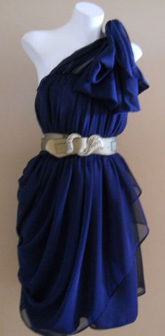 VINTAGE HARAH NAVY COCKTAIL FORMAL CHIFFON 50'S DRESS 6-8-10-12-14-16