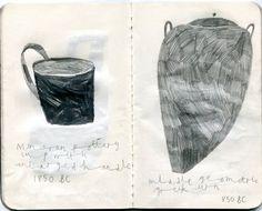 emma lewis drawings + illustrations: pots at the British Museum Emma Lewis, Cafe Design, British Museum, Sketchbooks, Still Life, Book Art, Illustration Art, Sketches, Graphic Design