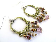 Olive Garden Flower Earrings Beaded Chandelier by moonlilydesigns