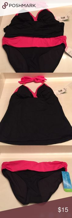 Black & Pink Tankini New with tags top is a size 8 and bottoms are a size 6 Swim Bikinis