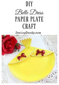 Beauty and the Beast! This DIY Belle dress paper plate craft is so easy to make and the kids will love it!
