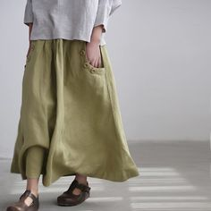 Linen big pocket long skirt by MaLieb on Etsy, $69.00