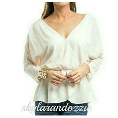 Ivory dolman blouse V neck.  New.  Fully lined. Tops Blouses