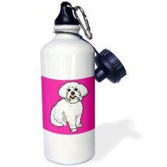 3dRose Cute Retro Style Cartoon Maltese Puppy Dog Pet Animal On Pink, Sports Water Bottle, 21oz