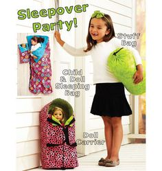 K3909, Sleepover Party Kwik Sew Patterns, Doll Patterns, Child Doll, Girl Dolls, Ag Dolls, American Girl Diy, American Dolls, Kids Sleeping Bags, Doll Carrier
