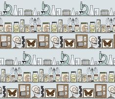 Science cabinet fabric, wallpaper, and gift wrap by doodleandhoob
