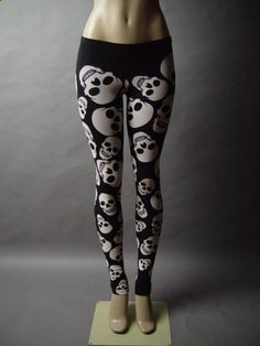 Black White Skull Design Graphic Punk Rock Roll Emo Goth Skinny Pant Legging L | eBay