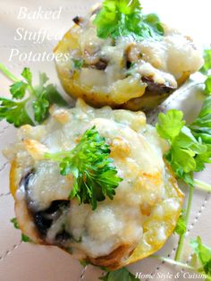 Baked Potatoes Stuffed with Mushroom and Cheese Filling - new recipe on the blog!