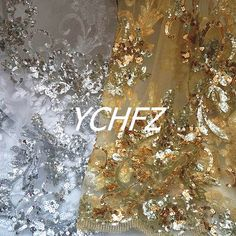 Gold Silver Sequin Paillette Embroidery Classical African Lace Guipure Gauze Tulle Fabric Material Yarn Textile For Sew Dress
